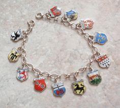 Germany Charm Bracelet Souvenir Enamel 800 835 Silver Vintage 090514SB by cutterstone on Etsy  #charmbracelet #Germansouvenircharms #silverbracelet #vintage