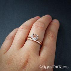 Morganite Ring Pink Morganite Engagement Ring Set by lovebyohkuol Pink Diamond Engagement Ring, Morganite Engagement, Morganite Ring, Minimalist Wedding Rings, Wide Wedding Bands, Thing 1, Forever One Moissanite, Ring Set, Pink Ring