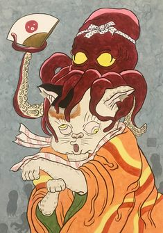 #art #illustration #japan #cat #Watercolor #octopus #猫 #イラスト #日本画 #蛸 Illustration, Anime, Cartoon Movies, Illustrations, Anime Music, Animation, Anime Shows