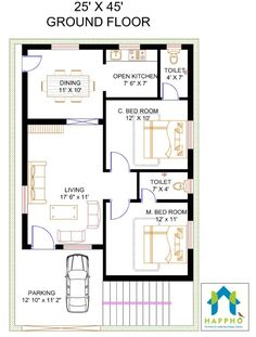 Vastu Complaint 2 Bedroom (BHK) Floor plan for a feet Plot Sq ft plot area). Check out for more 3 BHK floor plans and get customized floor plans for various plot sizes 10 Marla House Plan, 2bhk House Plan, Simple House Plans, Model House Plan, Duplex House Plans, House Layout Plans, New House Plans, House Floor Plans, Bungalow Floor Plans