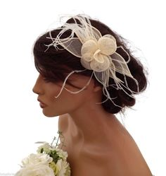 Elegant Light Cream Mesh Flower Headband Fascinator Feathers Races Wedding