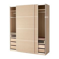 IKEA - PAX, Wardrobe, 200x66x236 cm, soft closing device, , 10 year guarantee. Read about the terms in the guarantee brochure.You can easily adapt this ready-made PAX/KOMPLEMENT combination to suit your needs and taste using the PAX planning tool.Sliding doors allow more room for furniture because they don't take any space to open.The soft-closing device catches the running doors so that they close slowly, silently and softly.If you want to organise inside you can complement with interior…