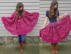 Retro crochet poncho and crochet skirt, pink, versatile crochet clothing from vintage pattern, 1971...lo q u i e r o !!!!!
