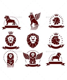 Lions Simple Emblems Set by Abrams Lions heraldics set with banners, ornaments and crowns Main file: vector *.EPS all elements separated by layers Additional format Logo Lion, Simple Lion Tattoo, Lion Icon, Lion Images, Lion And Lamb, Lion Illustration, Lion Poster, Lion Design, Silhouette Clip Art