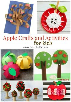 Apple themed crafts and activities for preschooler and kindergarteners. From apple crafts for kids to fine motor and fun activities for young children. #apples #backtoschool #fall #craftsforkids #activitiesforkids #preschool #kindergarten #twitchetts