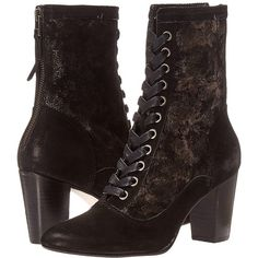 Johnston & Murphy Adaline Bootie (Black Italian Kid Suede/Black... ($248) ❤ liked on Polyvore featuring shoes, boots, ankle booties, ankle boots, black bootie boots, black lace up booties, black suede booties, black lace up boots and black boots