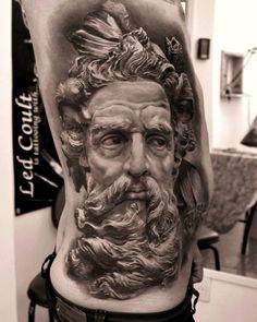 Best Tattoo art Works, Pictures, Tattoo Artists from around the World ! Life Tattoos, Body Art Tattoos, New Tattoos, Cool Tattoos, Payasa Tattoo, Zeus Tattoo, Angel Tattoo Designs, Ink Master, Greek Gods