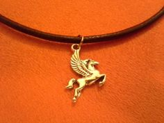 Black leather choker necklace with Pegasus by dementedpolkadesigns, $12.50