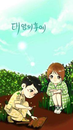 Descendants of The Sun. Cute Couple Comics, Cute Couple Cartoon, Cute Love Cartoons, Korean Drama Songs, Korean Drama Best, Korean Dramas, Anime Chibi, Kawaii Anime, Desendents Of The Sun