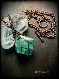 Rocks that Rock ~ Boho amulet; beautiful octahedron green Fluorite rock. Fluorite helps to ground excessive energy, particularly mental, emotional and nervous energy. It is a powerful healer, it affects all the chakras as well as mental attitudes. It is excellent for use in cleansing the aura. ~