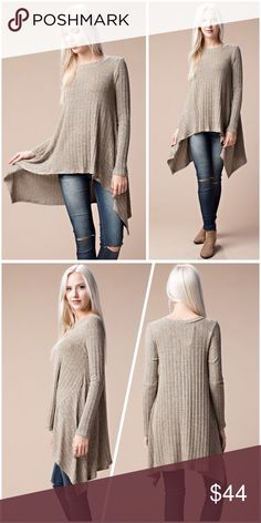 Soft sweater tunic in khaki w/shark bite hem! This soft and cozy rib sweater top features boat neckline, long sleeves, hi-low hemline and flowy fit. Sweaters