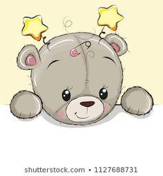 Drawing Teddy bear on a yellow background. Cute Drawing Teddy bear on a yellow background stock illustration Teddy Bear Drawing, Teddy Bear Cartoon, Cute Teddy Bears, Cute Cartoon Girl, Cute Cartoon Animals, Cartoon Pics, Tatty Teddy, Baby Animal Nursery, Baby Animals