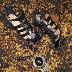 Gladiator style heeled sandals Merona black gladiator style heeled sandals, worn once indoor, in excellent conditon. Super comfy! Merona Shoes Heels