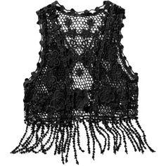 No Boundaries Juniors Fringe Crochet Vest