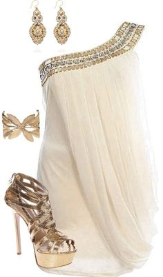 white and gold grecian goddess cocktail dress