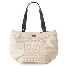 """Constance (Demi) $34.95- European styling combines with light and frothy café-au-lait creamy faux leather to create a Shell that is both unique and timeless. Everyone needs a winter white Shell for their Demi Miche collections and Constance makes a charming addition. You'll love the delicate woven accent piece on the front, soft pleating details, antique brass hardware and back zippered pocket. """"like"""" facebook.com/mybagsecrets"""