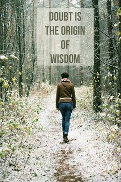 """""""Doubt is the origin of wisdom""""  ― René Descartes"""