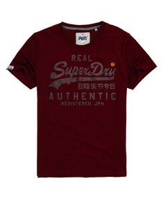 Shop Superdry Mens Vintage Authentic Duo T-shirt in Rich Burgundy Grit. Buy  now with free delivery from the Official Superdry Store. c204b9194a9