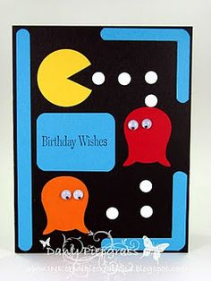 pacman card - ghosts made with owl punch, PAC man from a circle punch & the bars made from the word window punch. can also handcut ghosts Boy Cards, Kids Cards, Cute Cards, Owl Punch Cards, Owl Card, Kids Birthday Cards, Man Birthday, Birthday Wishes, Creative Cards