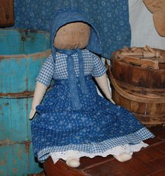 early homespun and blue calico