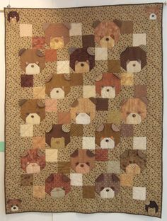 Cute Bear Quilt. I would love to adapt this to a pug quilt. You could make the ears pointy instead of round and the faces black.