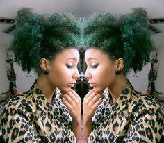 green kinky natural big hair color