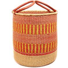 $92 African Basket - Ghana Bolga - Laundry Hamper, Open Top Large - 18 Inches Across - #50459