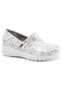 Greys Anatomy by Softwalk Meredith nursing clogs in White Floral Patent | Scrubs and Beyond