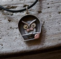 Owl ShadowBox necklace sterling gold copper & by roneprinz on Etsy, $275.00