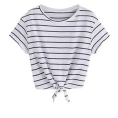 ROMWE Women's Knot Front Cuffed Sleeve Striped Crop Top Tee T-shirt ❤ liked on Polyvore featuring tops, t-shirts, knit tee, stripe top, knit crop top, striped top and knot front tee