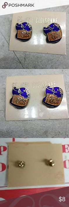 Cloisonne Elephant pierced earrings See picture if interested message me.  Thanks for looking CLOISONNE Jewelry Earrings