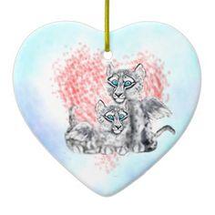 SWL-Love Duo Ceramic Christmas Heart Orniment