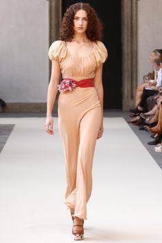 Luisa Beccaria - Peasant Maxi Dress - Apricot Georgette - Skirt cut on bias - Spring 2011 - Ready To Wear