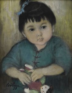 Lê Thị Lựu (1911-1988), Portrait of a young girl holding a doll, signed and dated 58, oil on silk, 22.5 by 17.5 cm; 8 3/4  by 6 3/4  in.