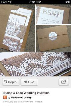Lace and burlap invitations