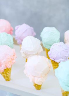 These little cones are almost too cute to eat! We love the idea of topping them with coordinating pastel sprinkles. dessert ice cream 10 Prettiest Pastel Desserts For A Spring Soiree - Wilkie Ice Cream Man, Ice Cream Party, Mini Ice Cream Cones, Imagenes Color Pastel, Pastell Party, Cute Food, Yummy Food, Kreative Desserts, Unicorn Ice Cream