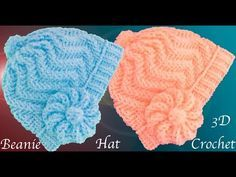 Crochet Beanie Hat With Leaves And Flower Crochet Mens Hat Pattern, Crochet Hooded Scarf, Crochet Cap, Crochet Baby Hats, Crochet Beanie, Knitted Hats, Crochet Patterns, Baby Hat Patterns, Crochet Videos