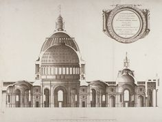 Longtitudinal section through St Paul's Cathedral, according to the first design of Sir Christopher Wren.