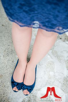 Blue shoes with a cute lace dress!