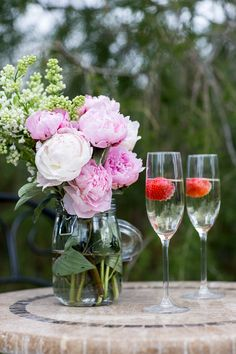 Complete the romantic evening with some champagne for two, fresh berries and a luscious bouquet of blooms. Flute Glasses, Romantic Evening, Beer Garden, Diy Supplies, Outdoor Entertaining, Garden Projects, Some Fun, Outdoor Living, Alcoholic Drinks