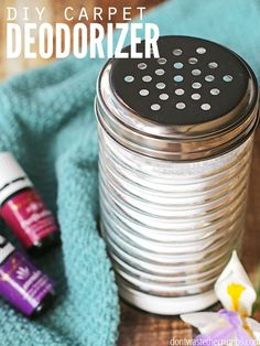 All-natural DIY homemade carpet deodorizer - I love this easy tutorial! There's just two ingredients (one to absorb odors and one to replace it with something that smells better) and it's SUPER frugal! Cleaning the carpets has never been so much fun, and it's a non-toxic replacement for chemicals in my home.Homemade carpet deodorizer is green cleaning at its finest! :: DontWastetheCrumbs.com
