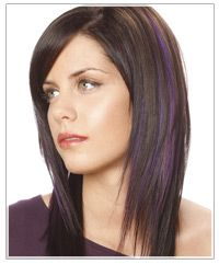 Long hair with jagged cut layers. LOVE!! Also digging the subtle purple highlights