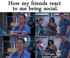 The look on Zoey, Thor, and Gloria's faces = pure confusion! I loved it when Nurse Jackie played on the awkwardness. Introvert Humor, Introvert Problems, Nurse Jackie, The Best Series Ever, Funny Memes, Jokes, Funny Pictures, Funny Pics, Funny Stuff
