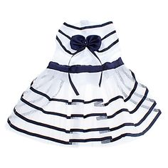 Cute Navy Stripe Pattern Cool Summer Pet Dress with Bowknot for Dogs – AUD $ 13.73