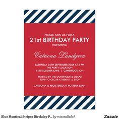 "Blue Nautical Stripes Birthday Party Invitation 5"" X 7"" Invitation Card"