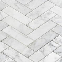 Ivy Hill Tile Carrara 1 x 3 Marble Mosaic Tile Stone Mosaic Tile, Marble Mosaic, Mosaic Tiles, Carrara Marble Bathroom, Marble Look Tile, Master Bathroom, Bathroom Inspo, Bathroom Ideas, Bathroom Updates