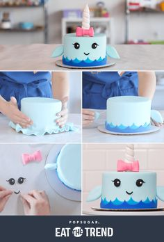 Narwhal Cake Tutorial - Cakes and decorations tutorials - Cake Animal Cakes, Salty Cake, Cake Tutorial, Savoury Cake, Cute Cakes, How To Make Cake, Cake Designs, Amazing Cakes, Cupcake Cakes