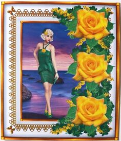 Gallery - I used these lovely yellow roses in my own sheet Lady Dixie. First I added the lady on the background + f. Three Roses, 3d Sheets, Yellow Roses, Hobbies And Crafts, Designer, Decoupage, Gallery, Frame, Flowers