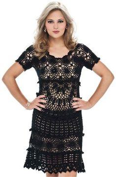 vestido preto | Confecção de malhas para as mulheres | Tricô e crochê. Esquemas de tricô.