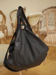 Black , leather rucksack - EwaWajnert.